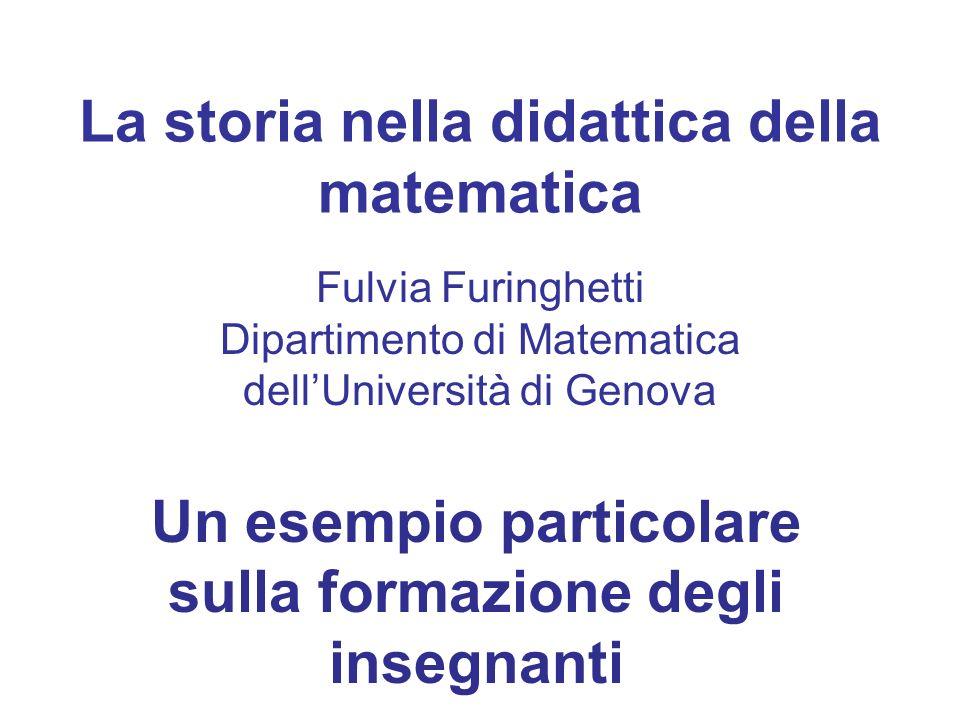 La storia nella didattica della matematica