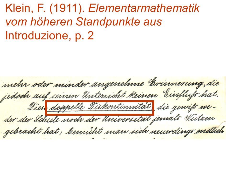 Klein, F. (1911). Elementarmathematik vom höheren Standpunkte aus