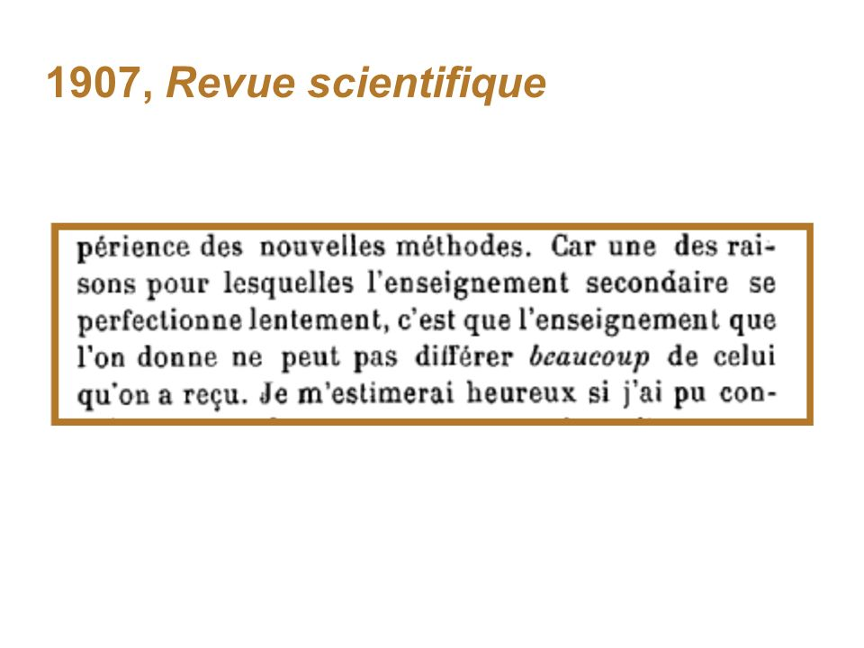 1907, Revue scientifique