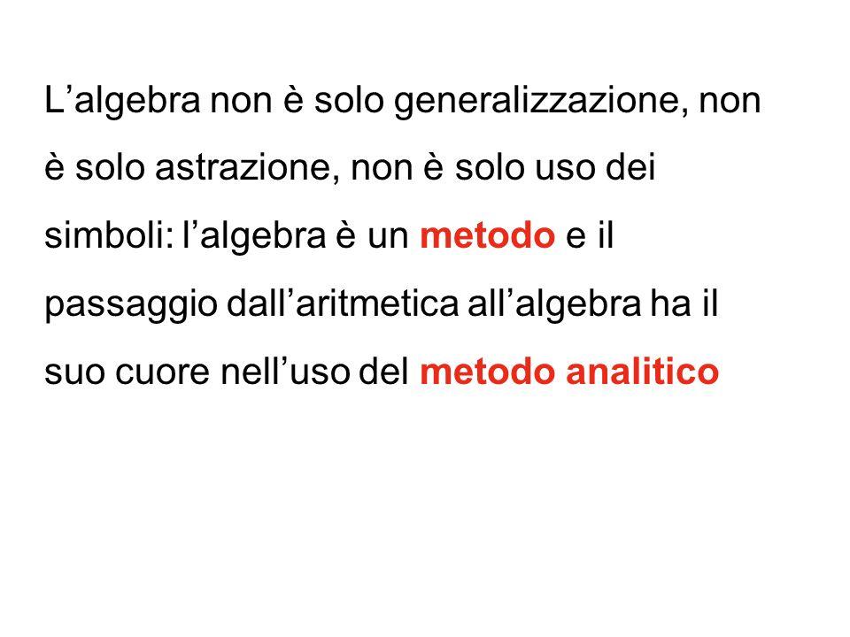 L'algebra non è solo generalizzazione, non è solo astrazione, non è solo uso dei simboli: l'algebra è un metodo e il passaggio dall'aritmetica all'algebra ha il suo cuore nell'uso del metodo analitico