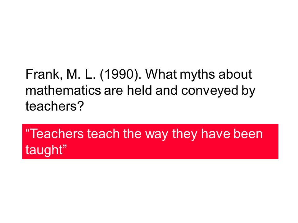 Frank, M. L. (1990). What myths about mathematics are held and conveyed by teachers