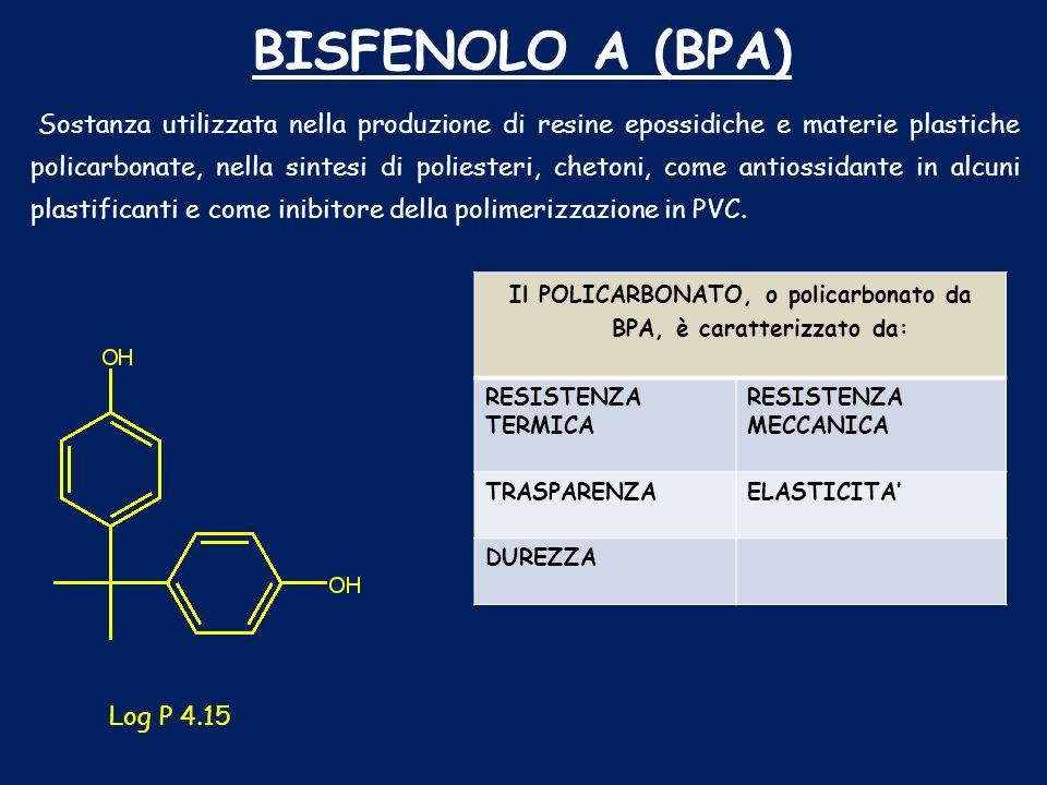 Il POLICARBONATO, o policarbonato da BPA, è caratterizzato da: