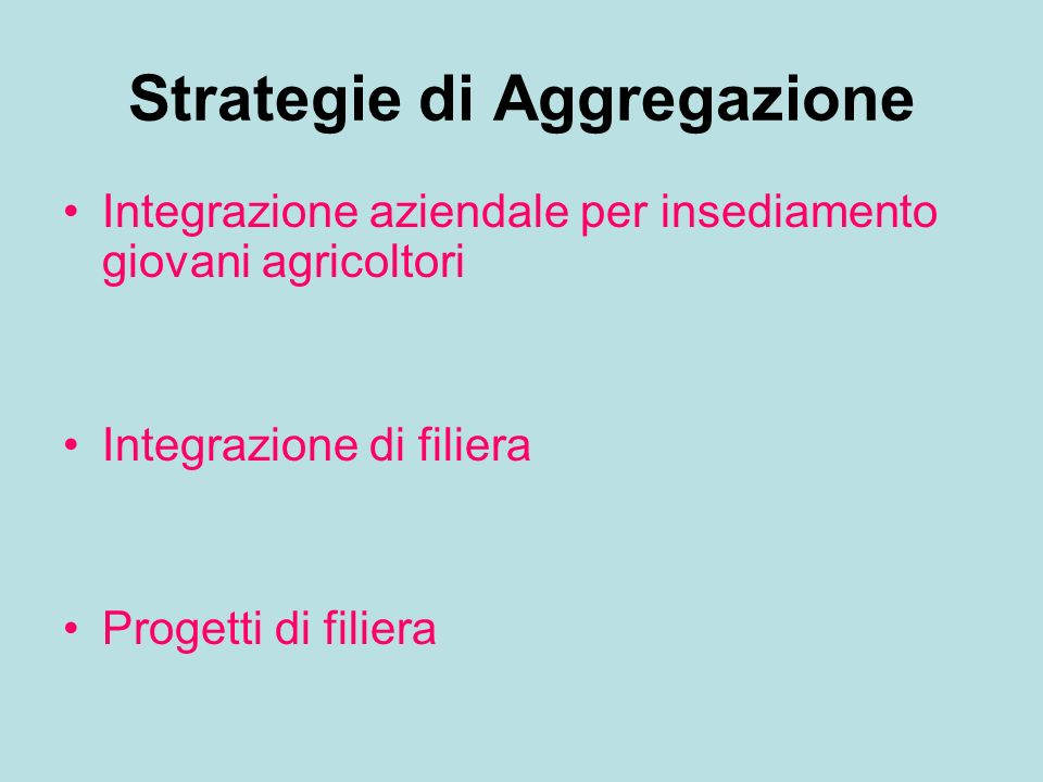 Strategie di Aggregazione
