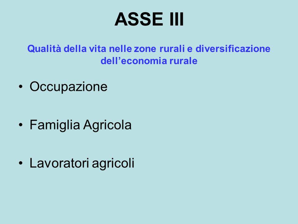 ASSE III Occupazione Famiglia Agricola Lavoratori agricoli