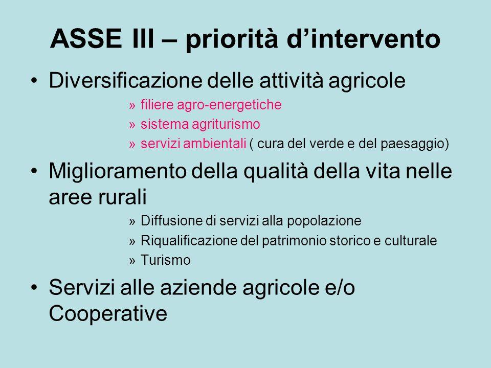 ASSE III – priorità d'intervento