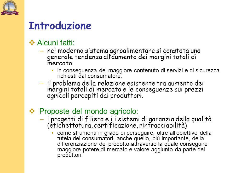 Introduzione Alcuni fatti: Proposte del mondo agricolo: