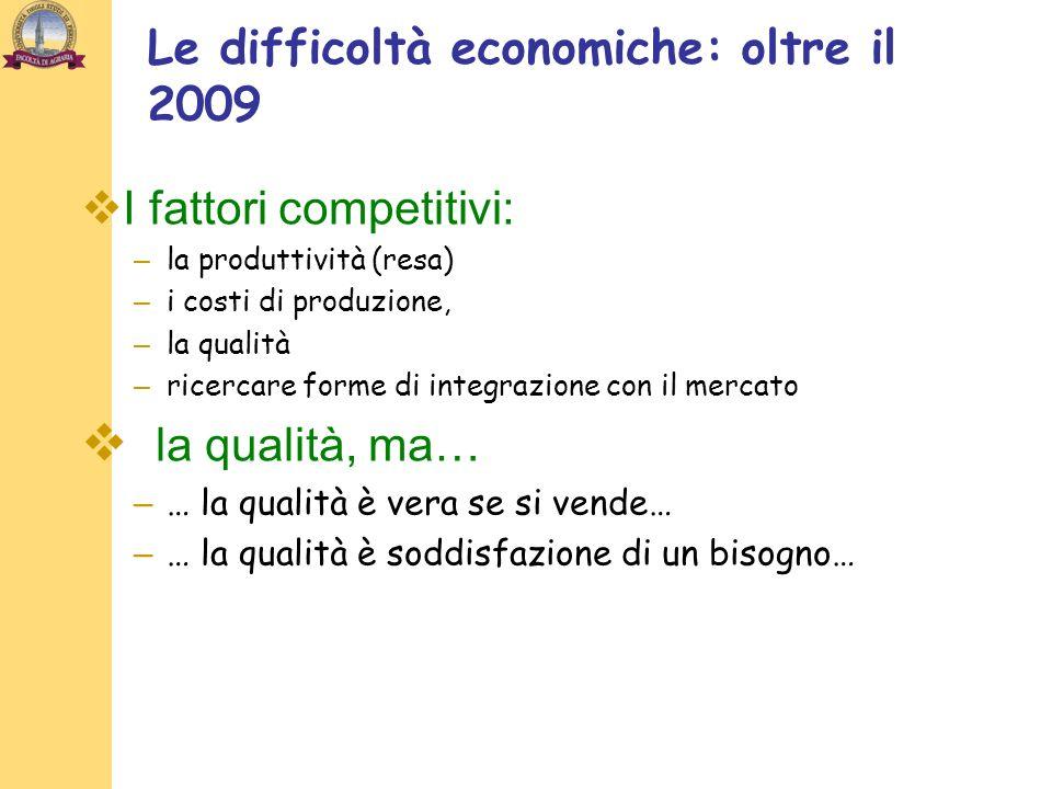 Le difficoltà economiche: oltre il 2009