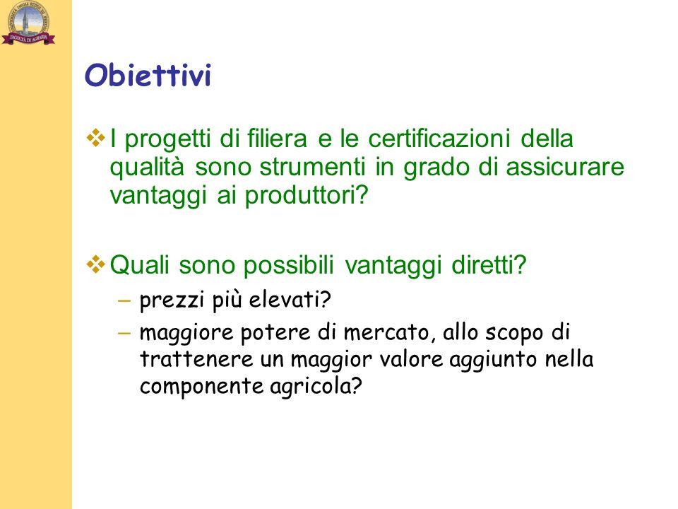 Obiettivi I progetti di filiera e le certificazioni della qualità sono strumenti in grado di assicurare vantaggi ai produttori