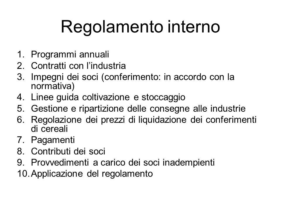 Regolamento interno Programmi annuali Contratti con l'industria