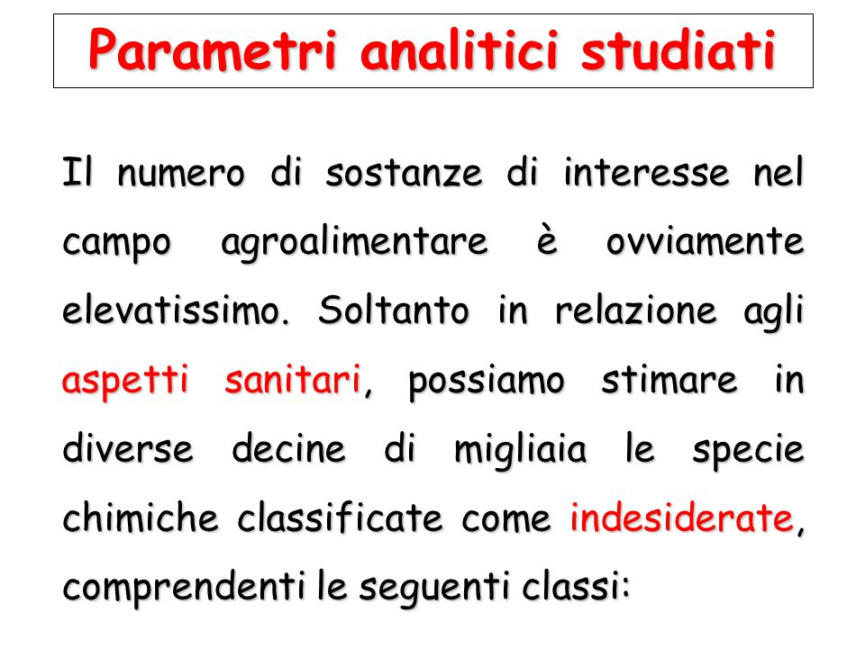 Parametri analitici studiati