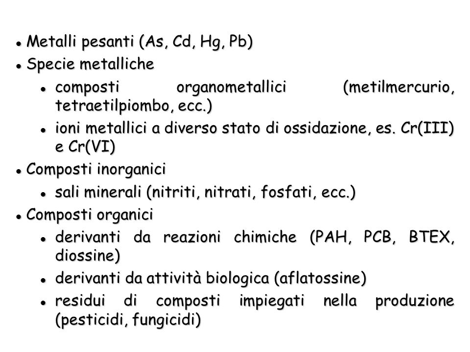 Metalli pesanti (As, Cd, Hg, Pb)