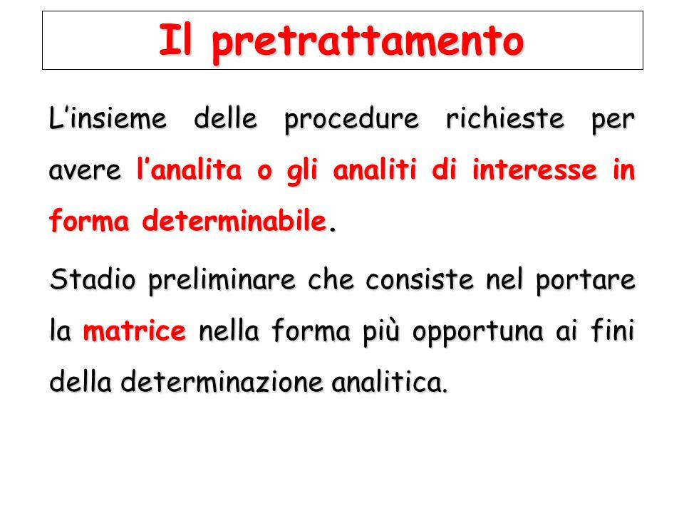 Il pretrattamento L'insieme delle procedure richieste per avere l'analita o gli analiti di interesse in forma determinabile.
