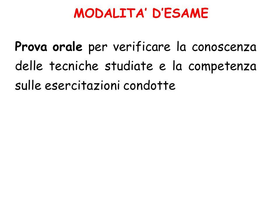 MODALITA' D'ESAME Prova orale per verificare la conoscenza delle tecniche studiate e la competenza sulle esercitazioni condotte.
