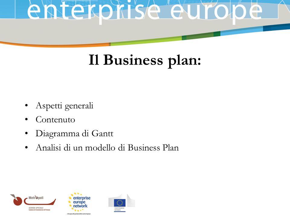Il Business plan: Aspetti generali Contenuto Diagramma di Gantt
