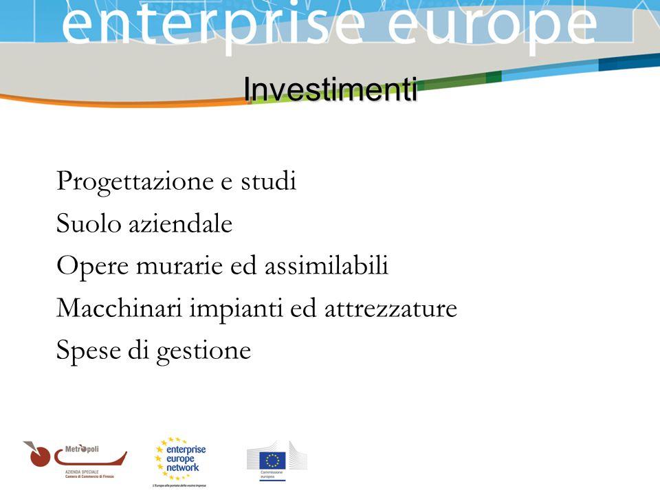 Investimenti Progettazione e studi Suolo aziendale