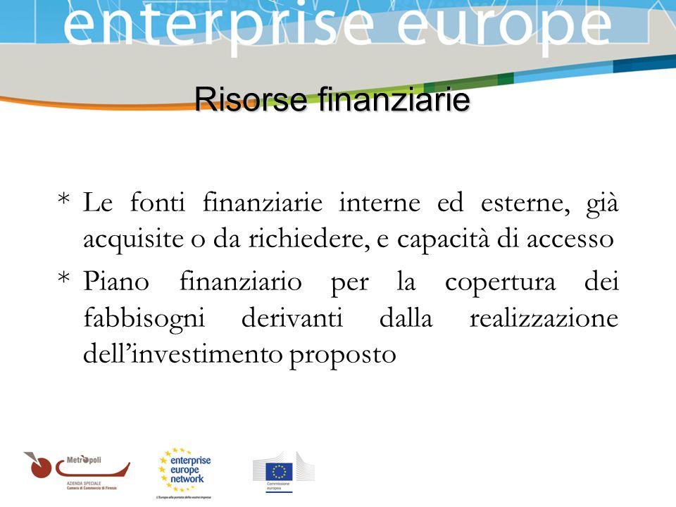 Risorse finanziarie * Le fonti finanziarie interne ed esterne, già acquisite o da richiedere, e capacità di accesso.