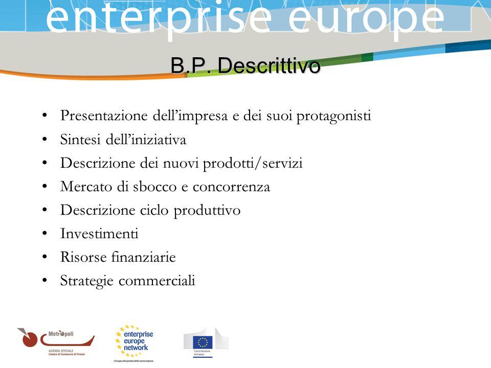 B.P. Descrittivo Presentazione dell'impresa e dei suoi protagonisti