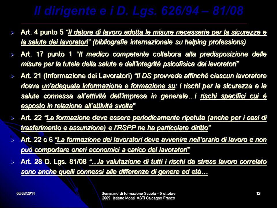 Il dirigente e i D. Lgs. 626/94 – 81/08
