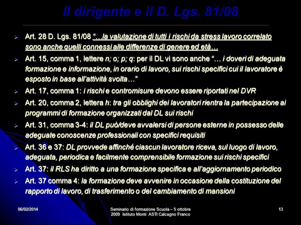 Il dirigente e il D. Lgs. 81/08
