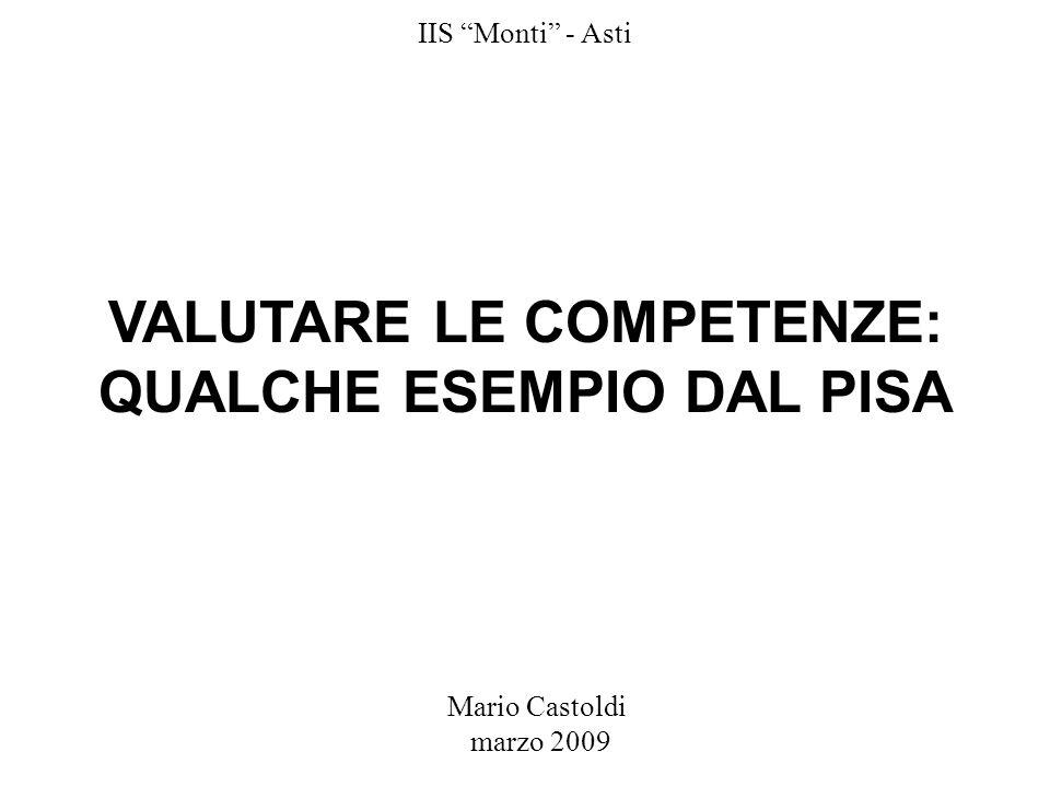 VALUTARE LE COMPETENZE: QUALCHE ESEMPIO DAL PISA