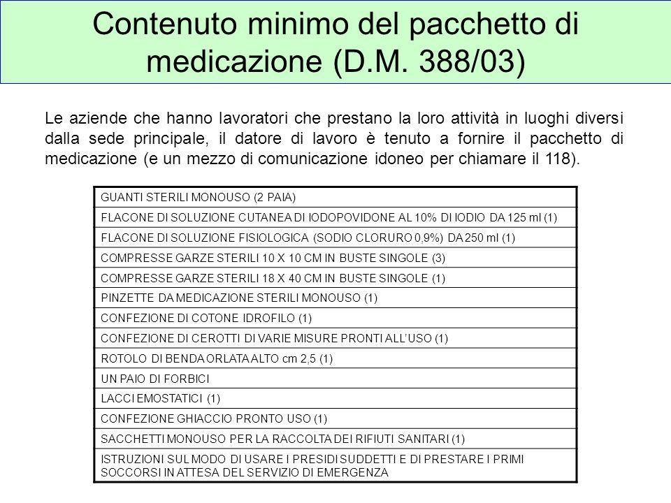 Contenuto minimo del pacchetto di medicazione (D.M. 388/03)