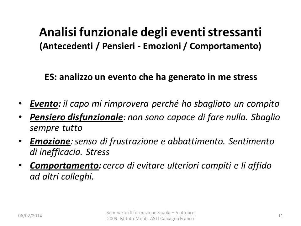 ES: analizzo un evento che ha generato in me stress