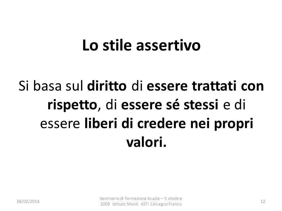 Lo stile assertivo Si basa sul diritto di essere trattati con rispetto, di essere sé stessi e di essere liberi di credere nei propri valori.