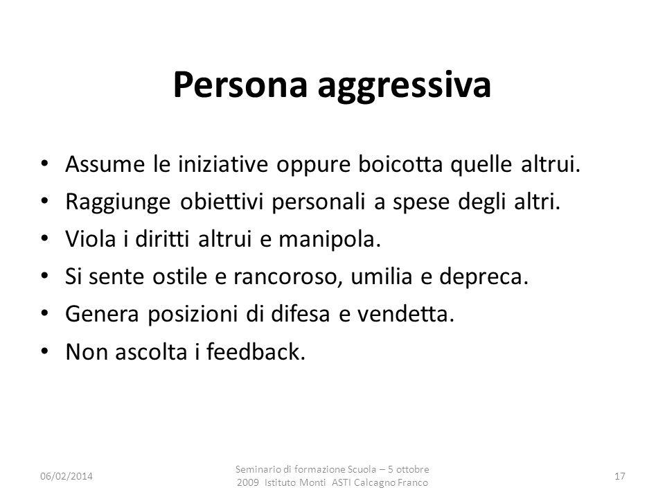 Persona aggressiva Assume le iniziative oppure boicotta quelle altrui.