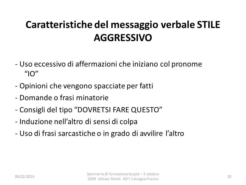 Caratteristiche del messaggio verbale STILE AGGRESSIVO