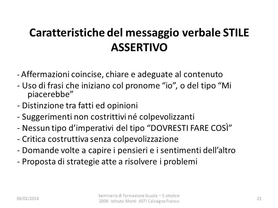 Caratteristiche del messaggio verbale STILE ASSERTIVO