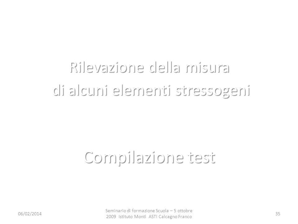 Compilazione test Rilevazione della misura