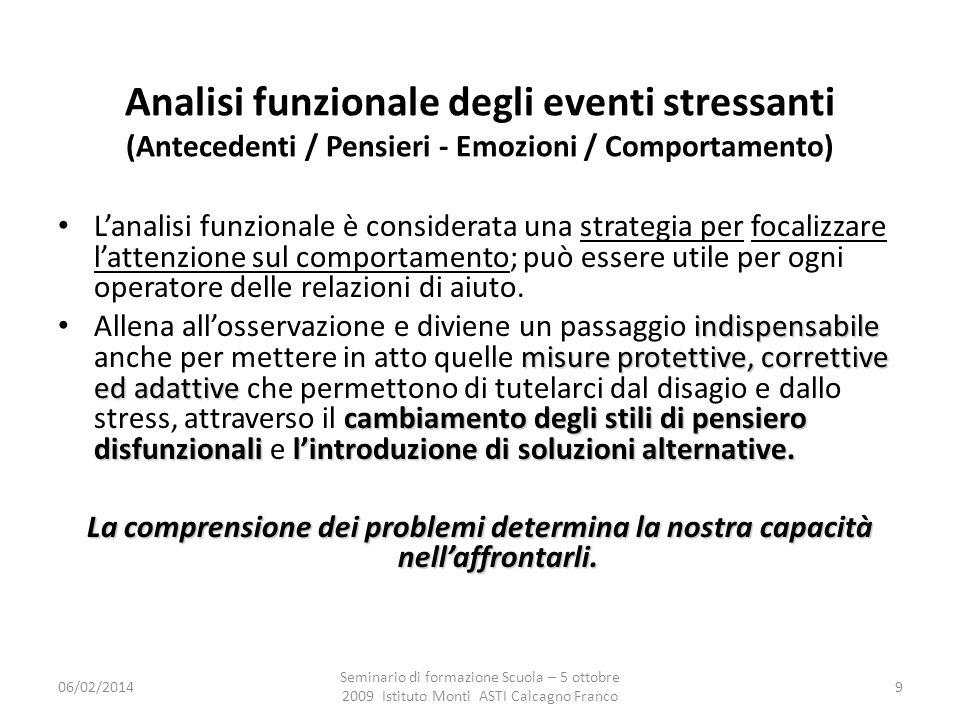 Analisi funzionale degli eventi stressanti (Antecedenti / Pensieri - Emozioni / Comportamento)