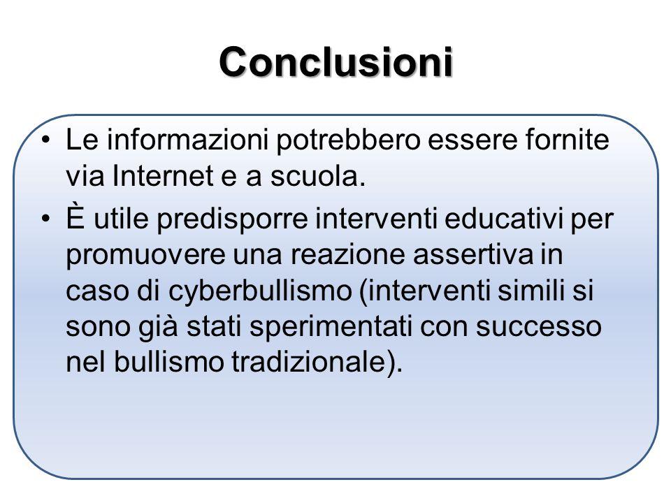 Conclusioni Le informazioni potrebbero essere fornite via Internet e a scuola.