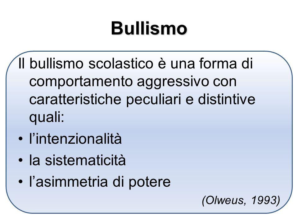 Bullismo Il bullismo scolastico è una forma di comportamento aggressivo con caratteristiche peculiari e distintive quali: