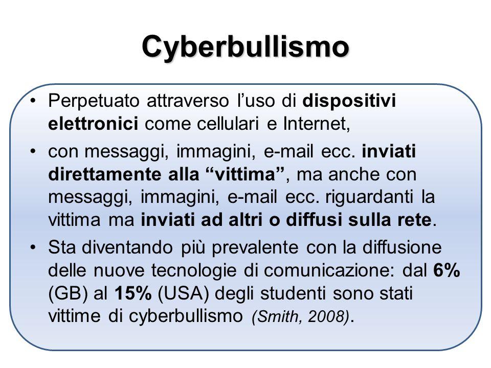 Cyberbullismo Perpetuato attraverso l'uso di dispositivi elettronici come cellulari e Internet,