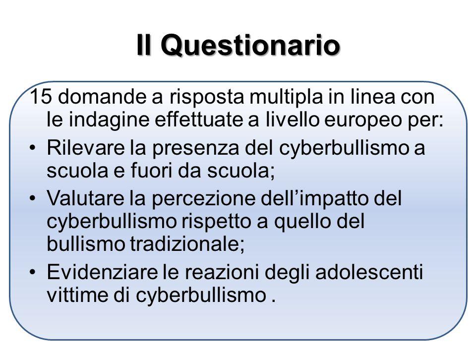 Il Questionario 15 domande a risposta multipla in linea con le indagine effettuate a livello europeo per: