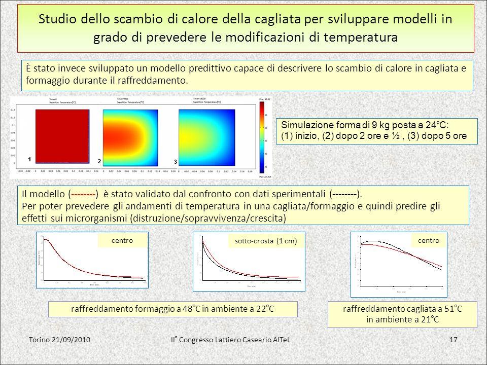 Studio dello scambio di calore della cagliata per sviluppare modelli in grado di prevedere le modificazioni di temperatura