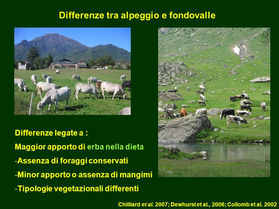 Differenze tra alpeggio e fondovalle