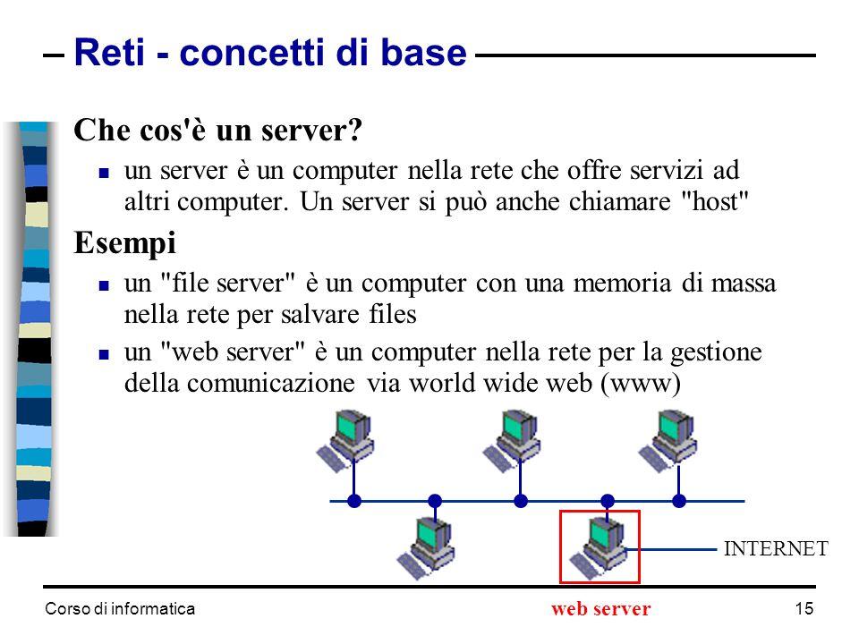Reti - concetti di base Che cos è un server Esempi