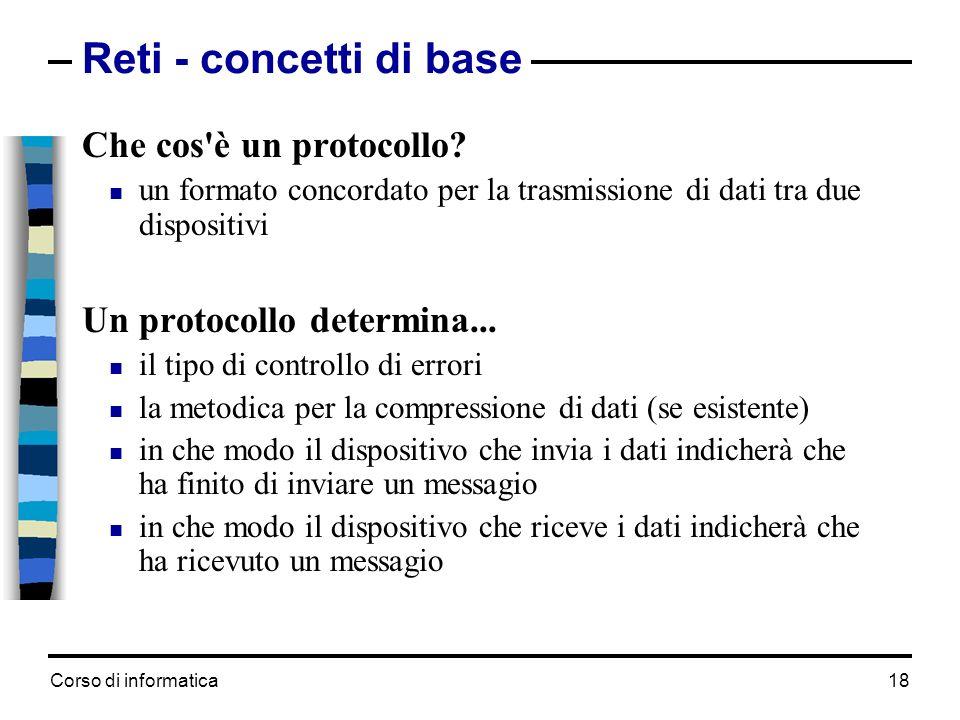 Reti - concetti di base Che cos è un protocollo