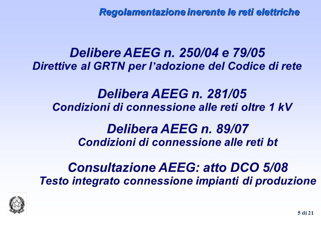 Delibera AEEG n. 281/05 Condizioni di connessione alle reti oltre 1 kV
