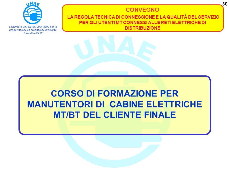 CORSO DI FORMAZIONE PER MANUTENTORI DI CABINE ELETTRICHE MT/BT DEL CLIENTE FINALE