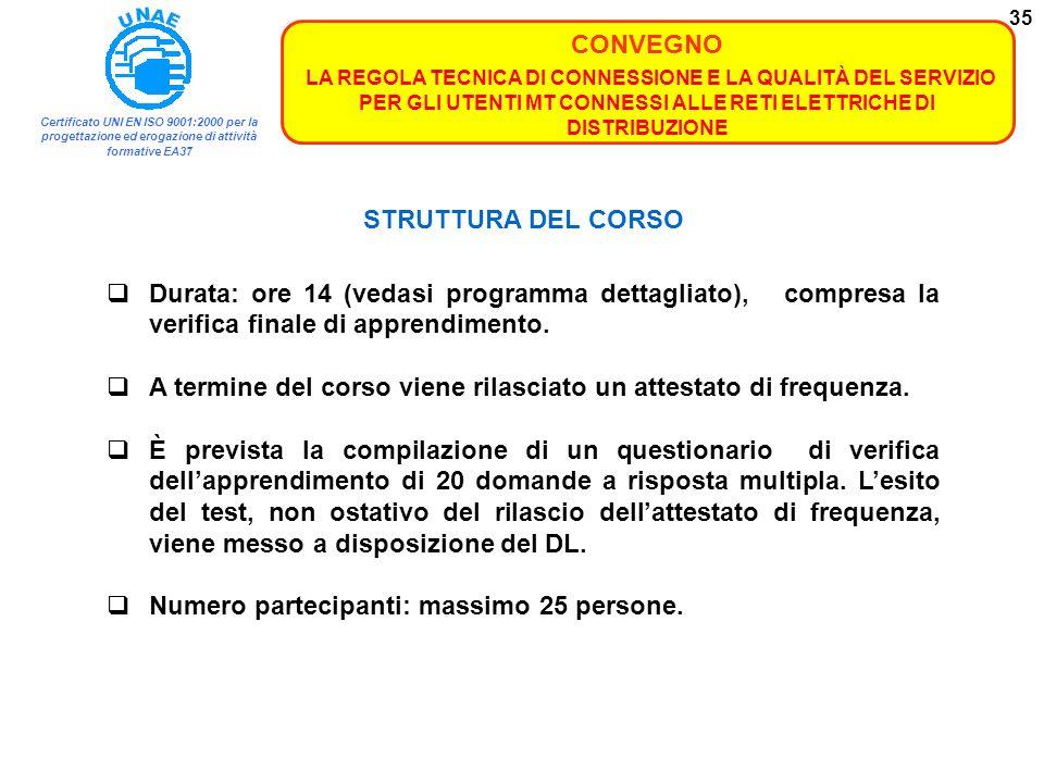 STRUTTURA DEL CORSO Durata: ore 14 (vedasi programma dettagliato), compresa la verifica finale di apprendimento.