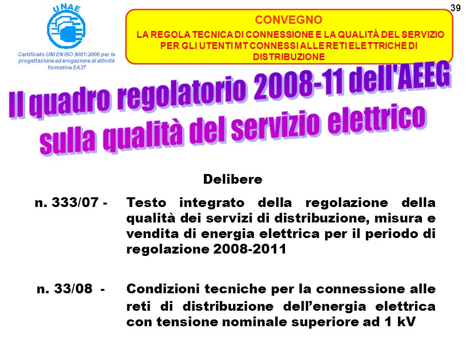 Il quadro regolatorio 2008-11 dell AEEG