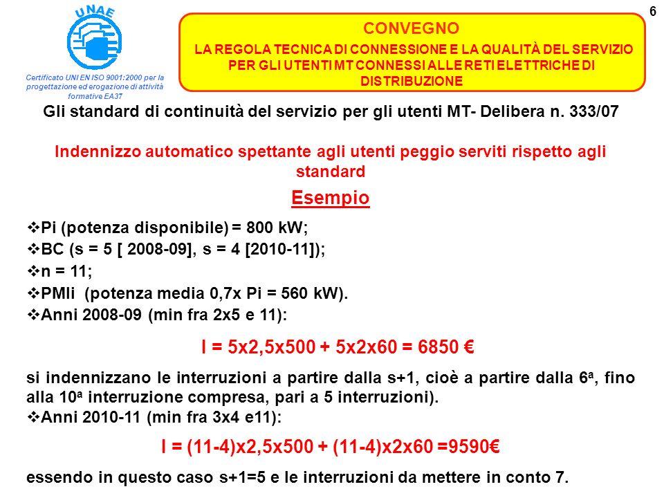 Esempio I = (11-4)x2,5x500 + (11-4)x2x60 =9590€