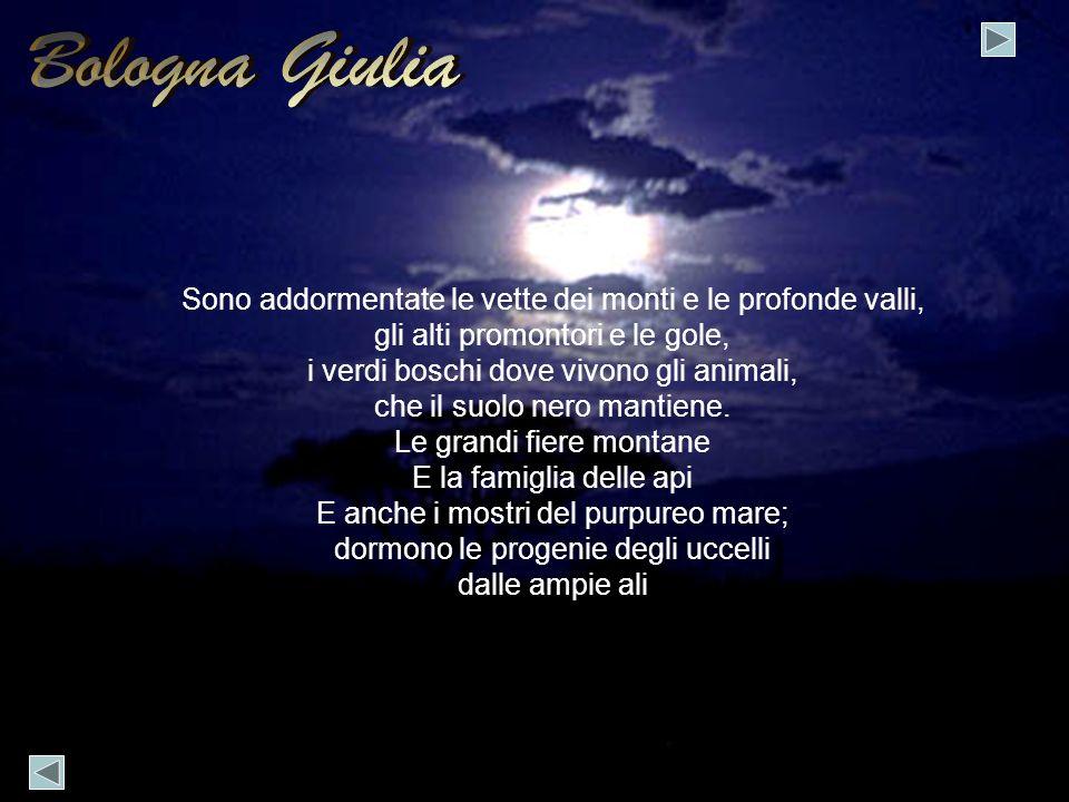 Bologna Giulia Sono addormentate le vette dei monti e le profonde valli, gli alti promontori e le gole,
