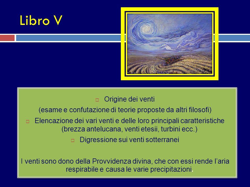 Libro V Origine dei venti