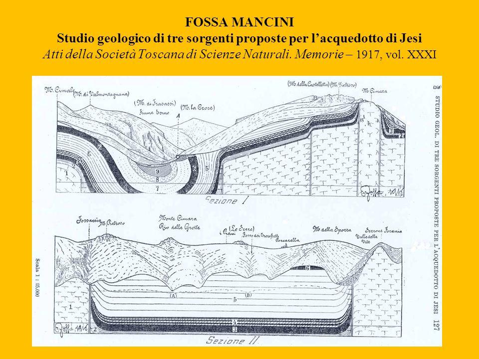 FOSSA MANCINI Studio geologico di tre sorgenti proposte per l'acquedotto di Jesi Atti della Società Toscana di Scienze Naturali.