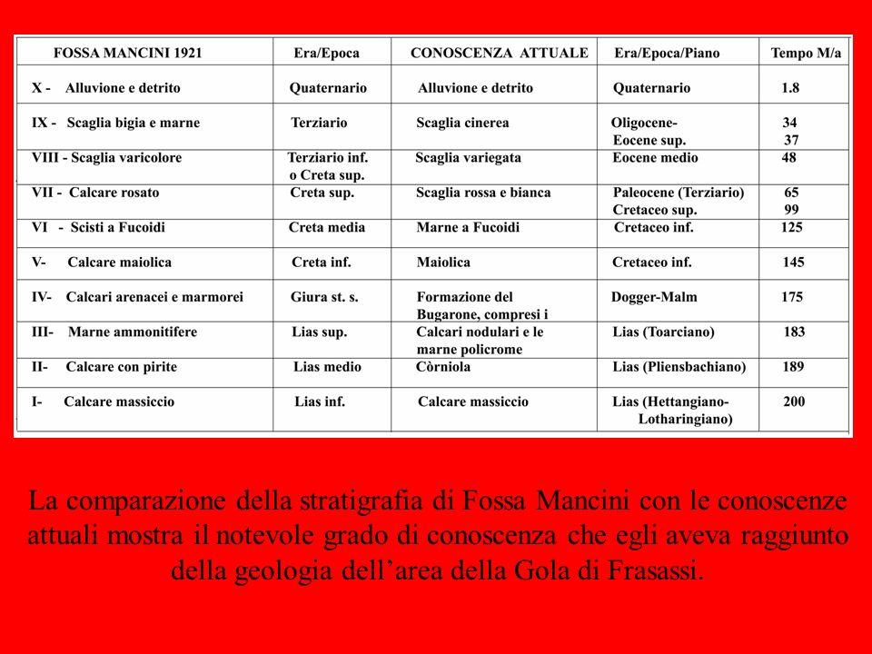 La comparazione della stratigrafia di Fossa Mancini con le conoscenze