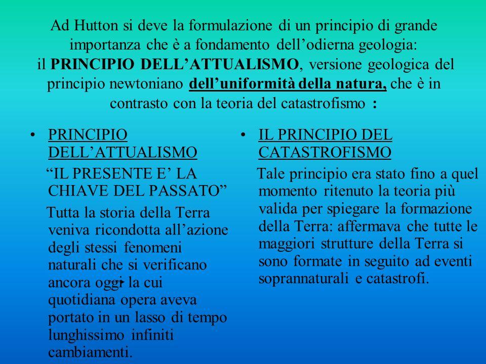 Ad Hutton si deve la formulazione di un principio di grande importanza che è a fondamento dell'odierna geologia: il PRINCIPIO DELL'ATTUALISMO, versione geologica del principio newtoniano dell'uniformità della natura, che è in contrasto con la teoria del catastrofismo :